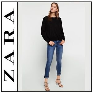 NWT { Zara } Skinny Jeans w/ Jewel Side Stripe